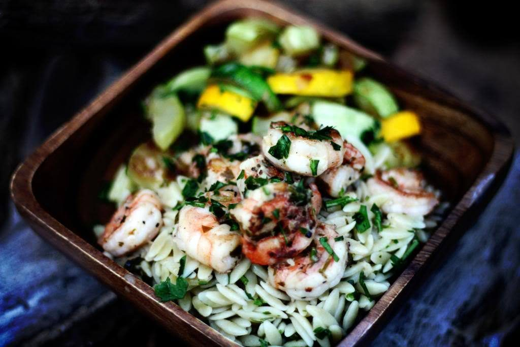 Lemony Grilled Shrimp Scampi over Orzo Pasta | Jennifer Cooks