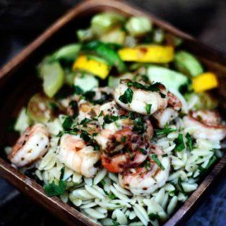 Lemony Grilled Shrimp Scampi over Orzo Pasta | Jennifer Cooks