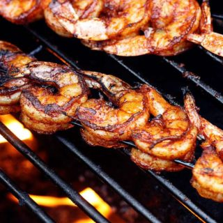 BBQ Grilled Shrimp on a hot fiery grill | JenniferCooks.com