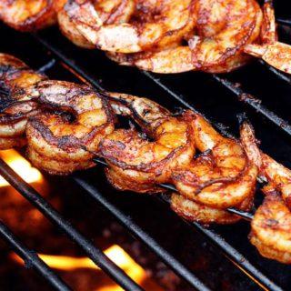 BBQ Grilled Shrimp on a hot fiery grill | JenniferCooks.com