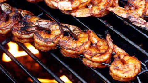 BBQ Grilled Shrimp on a hot fiery grill   JenniferCooks.com