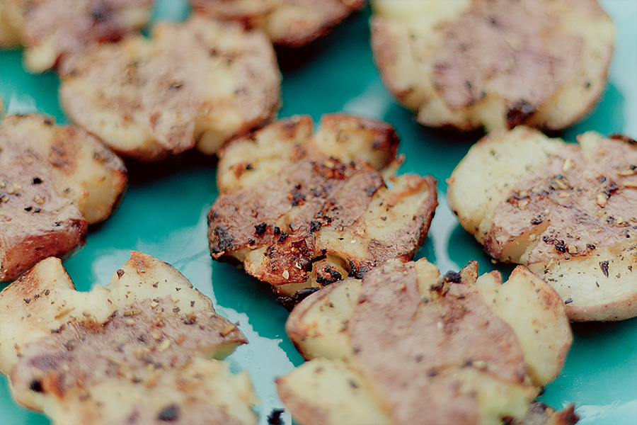 Grilled Smashed Potatoes with Garlic & Rosemary | Cooking and Recipes