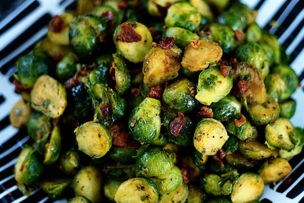 Sauteed Brussels Sprouts with Crisp Bacon | Jennifer Cooks