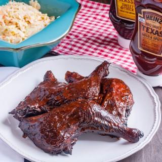 Smoked Chicken Leg Quarters with Heinz BBQ Texas Bold & Spicy BBQ Sauce