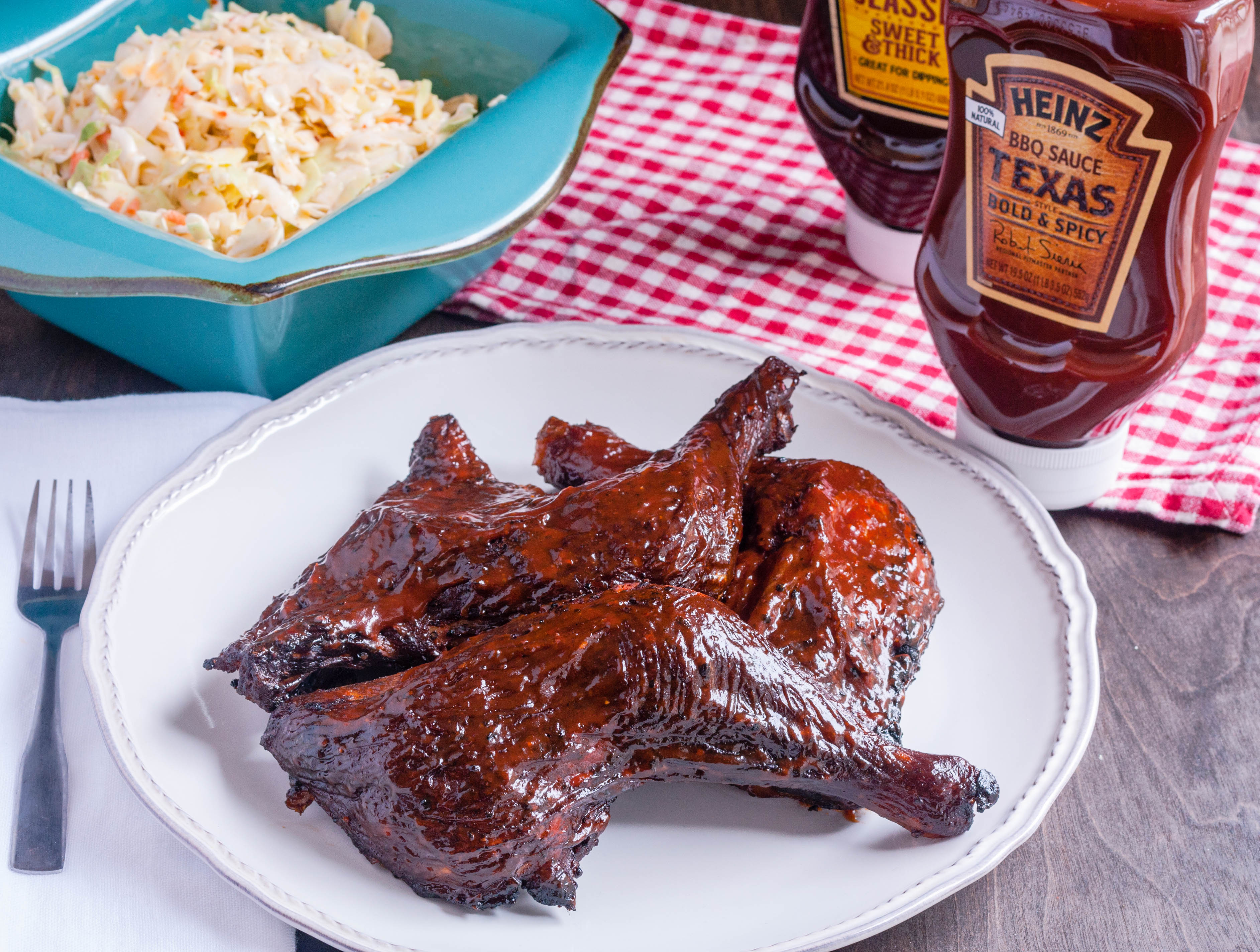 Smoked Chicken Leg Quarters With Heinz Bbq Texas Bold Amp Spicy Bbq Sauce Jennifer Cooks