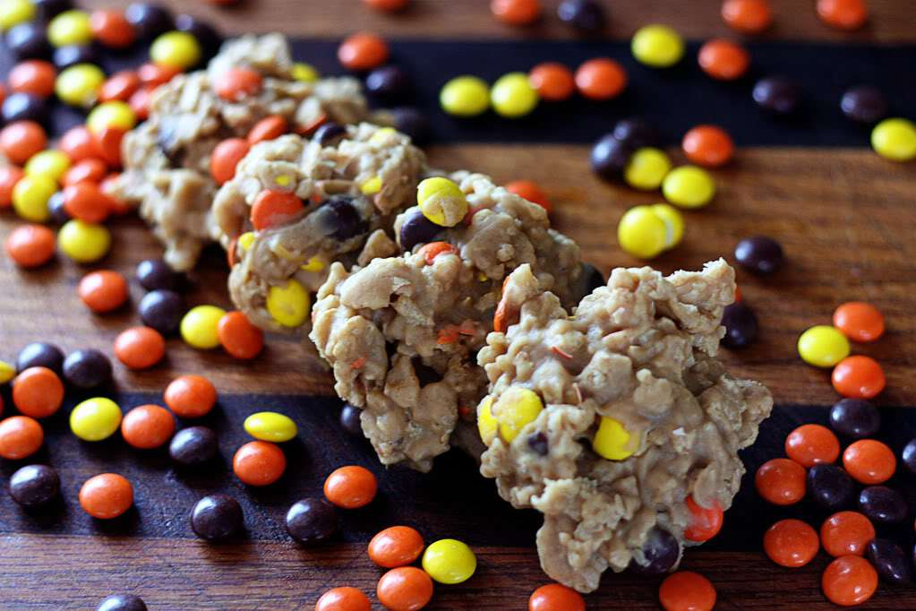 No Bake Reeces Pieces Drop Cookies | Jennifer Cooks