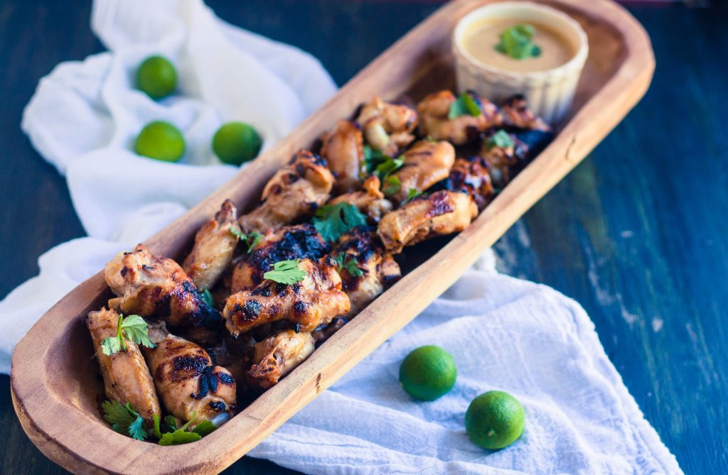 Grilled Asian Chicken Wings with Peanut Sauce | Jennifer Cooks