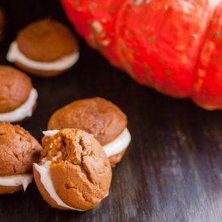 Pumpkin Whoopie Pies with Cream Cheese Filling | JenniferCooks.com