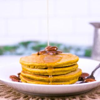 Pumpkin Spice Pancakes with Vanilla Cream Syrup | JenniferCooks.com