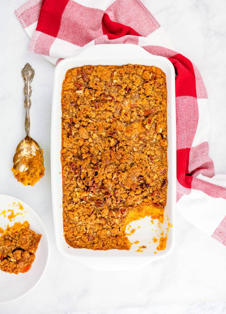 Sweet Potato Casserole with Praline Streusel Topping | JenniferCooks.com