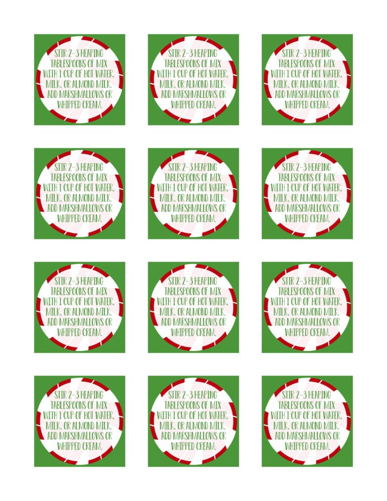 Gift tags for hot cocoa mix
